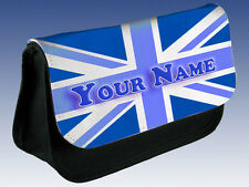 BLUE UNION JACK GB FLAG PERSONALISED PENCIL CASE  - BOY'S MEN'S GIFT & NAMED TOO