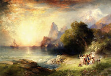 Large Oil painting Thomas Moran - Ulysses and the Sirens by the ocean landscape
