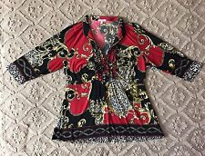Halo Womens Plus Size 1x Vibrant Print 3/4 Sleeve Ruffle Collared Blouse Top