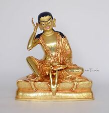 "Gold Gilded Face Painted Hand Carved Fine Quality 8"" Guru Milarepa Copper Statue"