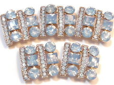 5-2 HOLE SLIDER BEAD GOLD PLATED BLUE GREY OPAL ROUND, SQUARE ACRYLIC RHINESTONE
