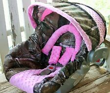 realtree camo w/ baby pink minky infant car seat cover and hood cover,headsuppor