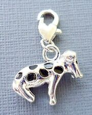 Silver plated DOG Clip On Charm Lobster Clasp for Link Chain floating locket m11