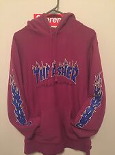 Supreme X Thrasher Magazine Hooded Sweatshirt Magenta Sz Medium Hoodie Box Logo