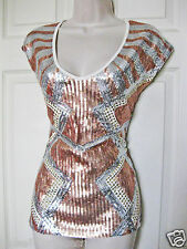 NWT bebe white silver gold stud sequin  colorblock stretchy dress top M medium