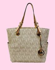 MICHAEL KORS JET SET VANILLA PVC MK Signature Tote Bag Msrp $198