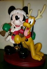 "Disney Christmas Santa Mickey Pluto Reindeer Holiday 18"" BIG FIGURE Statue RARE"