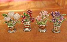 Set 4 Vintage Floral Flowers Cloisonne Enamel Pewter Wedding Placecard Holders