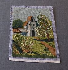 ANTIQUE LANDSCAPE HAND EMBROIDERY PETIT POINT  FINISHED & SIGNED MP