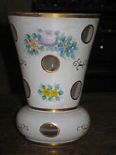 ANTIQUE CUT GLASS VASE PAINTED FLOWERHEAD BOHEMIAN OR FRENCH