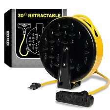 30 Ft Retractable Extension Cord Reel with 3 Electrical Power Outlets 10 amp New