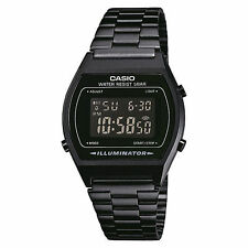 CASIO Uhr, Herrenuhr Retro Digital, Metallband PVD schwarz, B640WB-1BEF
