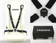 TANAKA BLACK 4 POINT CAMLOCK QUICK RELEASE RACING SEAT BELT HARNESS FIT CHEVY ~