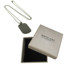 Brush Rhod Plain Dog Tag Pendant Necklace In Gift Box