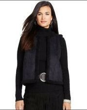 RALPH LAUREN BLACK FAUX SHEARLING FUR VEST JACKET sz PL