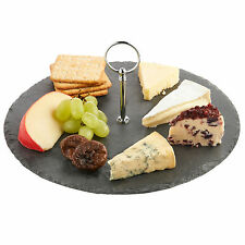 VonShef Round Cheese / Cake Serving Slate Board Platter with Carrying Handle