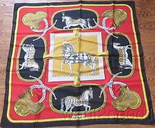 auth vtg HERMES PARIS SILK SCARF 90cm Grand Apparat red black Jacques Eudel EUC