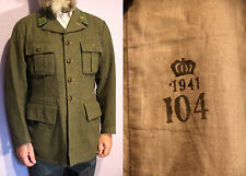 CLEARANCE WW2 1941 Sweden Military 100% Wool Coat Jacket Gorget Patches UK 42