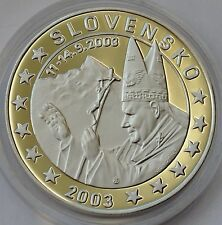 10 EURO PATTERN Silver Coin PROOF - Slovakia 2003 - Pope John Paul II