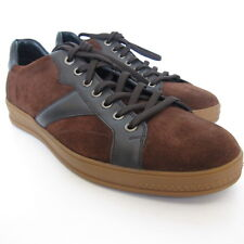 W-1416150 New Zegna Sport Dk Brown & Black Suede/Leather Sneaker Marked 11 US-12