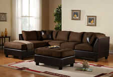 3pc Sectional Sofa Microfiber Faux Leather Set w/Chaise - BROWN