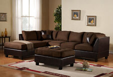 BLOWOUT SALE! 3pc Sectional Sofa Microfiber Faux Leather Set w/Chaise - BROWN