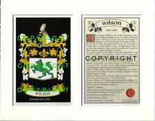 WILSON Family Heraldic Mount Coat of Arms Crest + History