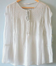 Zara Lady Guipure Bib Tie Neck Summer Kafan Top Tunic T Shirt Hippie Blouse 10 S