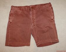 Ralph Lauren RRL Washed Brick Red Officer Chino Patch Logo Shorts 40 FITS 42