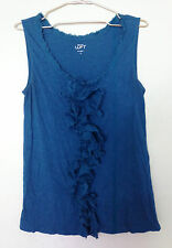 NWOT ANN TAYLOR LOFT Teal Blue Green Ruffled Front Top  Sz M Medium Fits Plus XL
