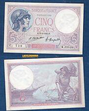 5  Francs Violet Type 1917 - 15-4-1925 M.22528 739 SPL - Cote 150 euro
