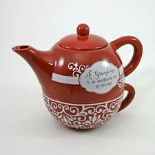 """Abbey Press Ceramic """"Teapot For One"""" Set of Unique Teapot and Matching Cup"""