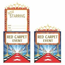 8 x Hollywood Movies Lights Red Carpet Event Birthday Party Pop Up Invitations