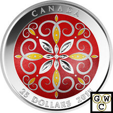 2015 Christmas Ornament - Colorized Prf $25 Silver Coin 9999 Fine *No Tax(17512)
