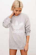 NEW WOMEN'S ADIDAS ORIGINALS GREY DOUBLE LOGO CREW NECK SWEATSHIRT SIZE SMALL