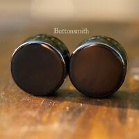 Pair of Black Obsidian Stone Plugs gauges pierced ear lobe - 3mm - 25mm 13 sizes