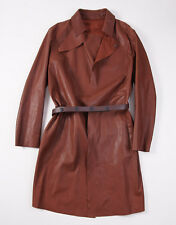 NWT $2895 EMPORIO ARMANI Mahogany Brown Leather Trench Coat 50/M Belted Front