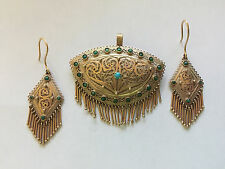 RARE!1800's ANTIQUE Victorian Etruscan14K GOLD Filigree EARRINGS  BROOCH Pin Set