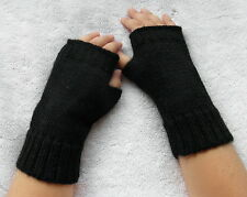 New Alpaca Blended Wrist Warmers From Peru Petite, Preteen, Child size in Black