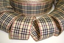 1.5 BACK 2 SCHOOL TARTAN TAFFETA PLAID KHAKI BLACK MAROON RIBBON 4 HAIRBOW BOW