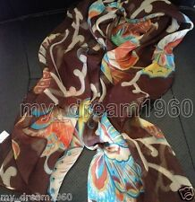 New WOMEN Brown Colorful Georgette 100% SILK LONG SCARF BUTTERFLY SHAWL WRAP