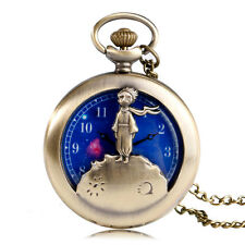 The Little Prince Planet Blue Cartoon Kids Children Copper Pocket Watch Necklace