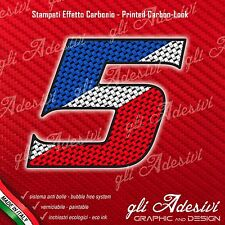 Adesivo Stickers NUMERO 5 moto auto cross gara Carbon Effect Blu White Red 10 cm
