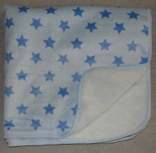 The Childrens Place Blue Star Baby Blanket White Fur Sherpa Soft