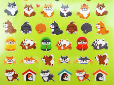 Kawaii chubby mochi Shiba Inu Japanese stickers - emoticon faces & dog butts!