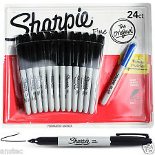 Sharpie Fine Point Permanent  Marker Black Pens Pack of 24 with Free 1x Blue Pen