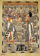 "Egyptian Hand-painted Papyrus Signed Art: King Tut & Queen Wedding Scene 12""x16"""