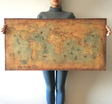 Living room decoration world map kraft paper paint vintage wall sticker poster