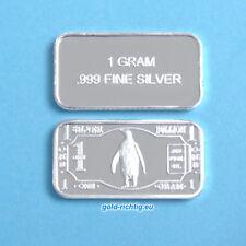 1 Gramm Silberbarren - Pinguin (Silber Feinsilber Barren Münze Penguin) NEU