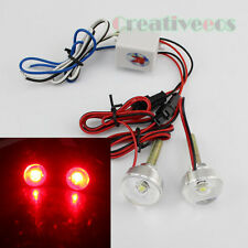 2x Strobe Flash Motor Bike Car 12V Round LED Metal Glass Tail Brake Light Lamp